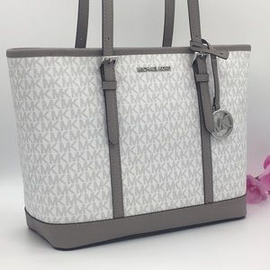 MICHAEL KORS SM TZ SHOULDER TOTE BRIGHT WHITE